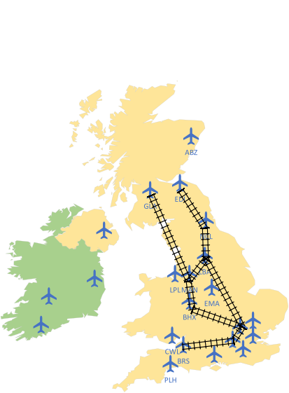 UK with rail links joining airports